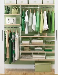 From The Container Store, the DIY birch & white elfa décor reach-in closet adjustable kit.