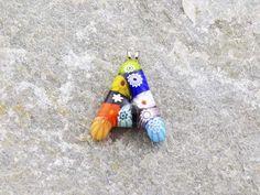 Lettera A   Iniziale in vetro di murano. Ciondolo pendente, colori vari con murrine inserite