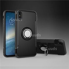 468d701a8021f9 Armor Anti Drop Carbon PC + Silicon Invisible Ring Holder Phone Case for  iPhone XS / X / 10 (5.8 inch) - Black