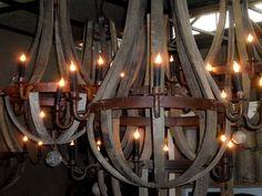 Wine Barrel Chandelier, Wood Chandelier, Chandeliers, Industrial Lighting, Home Lighting, Barn Renovation, Fantasy House, Wine Decor, Ceiling Lights