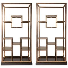 Stunning pair of brass Romeo Rega etagere, 1975, published | From a unique collection of antique and modern shelves at https://www.1stdibs.com/furniture/storage-case-pieces/shelves/