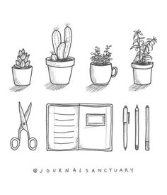 """""""I drew these little doodles for my sidebar and I thought I'd share them with you :). Feel free to use them as an inspiration ❤️"""" (repost: @journalsancturary)"""