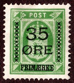 Denmark #81 32ø Green w/ 1912  35ø Black Surcharge, Wtrmk Crown Well Centered MH