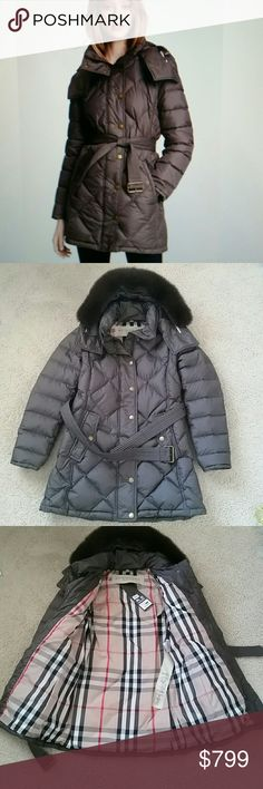 "Burberry brit""eddingly""down coat hood fur blue fox NEW WITH DEFECTSAND TAGS .This item has 3 defects. There was 2 small cuts on front of coat,but fixed by a professional tailor, material was taken from the inside of the sleeve and small scratches on fabric. Please see pictures 4.Color: dark sable. Hood fur trim real fur blue fox.main fabric -100 % polyester, sleeve lining 100% polyester, lining 100% polyester, filling/rembourrage -85% white goose down cluster&15%  white goose feather. Armpit…"