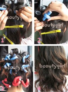 How to Make Gorgeous Curls with Soft Bendy Foam Curlers Hair Tricks, Hair Tutorials, Curled Hairstyles, Pretty Hairstyles, Foam Rollers Hair, Curling Rods, Beauty Skin, Hair Beauty, Hair