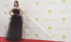Dramatic: American Horror Story star Sarah Paulson wore a red and black netted Armani gown