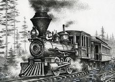 Historic Steam Drawing  - Historic Steam Fine Art Print
