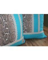 DÍSZPÁRNA SZETT KÉK KÍGYÓBŐR MINTA Pillows, Throw Pillow, Cushions, Cushion, Scatter Cushions