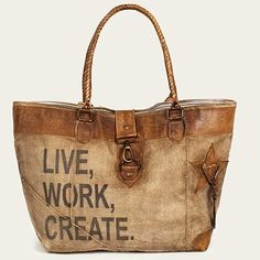 Leather & Canvas Live Work Create Tote