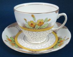 Cup And Saucer Art Deco Trees Cobbled Path Colored 1940s – Antiques And Teacups