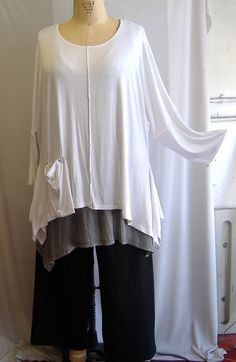 Coco and Juan Lagenlook Plus Size Top White Knit Angled Tunic Top One Size Bust  to 60 inches. $29.00, via Etsy.