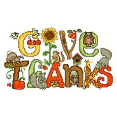 Give Thanks cross stitch pattern.