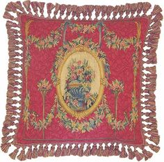 Aubusson Red Floral Urn Pillow