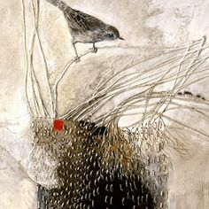 Delicate and fragile bird sitting upon twigs. Love this
