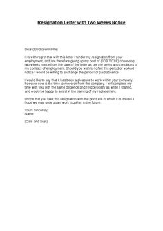... Resume Samples | Entry Level Sales And Marketing. Resignation Letter 2  Week Notice   WOW.com   Image Results