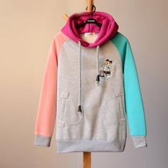 Embroidery cartoon double pocket hoodie top trend sweaters