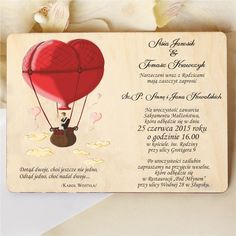 Couple in a balloon Wooden invitation Stylish wedding invitation, made on a piece of wood. The romantic image shows a young couple flying away in a balloon to their new life. Romantic Images, Young Couples, Wedding In The Woods, Balloons, Wedding Invitations, Groom, Bride, Colorful, Stylish