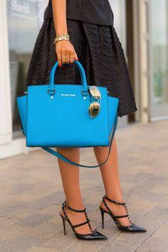 New In - Michael Kors Selma Bag  #Winter #Black and Blue #Michael Kors #Tote #Blue #shades #Valentino #Rockstud #Black Strap Studded Pumps