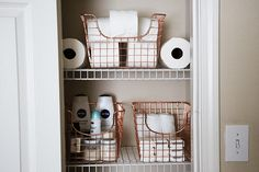 Wire baskets (maybe black though) for nappies and stuff on the dresser?
