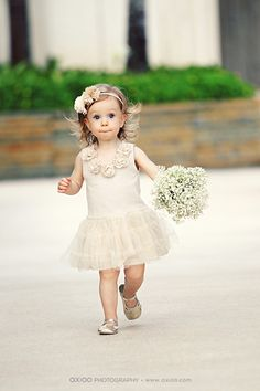I like the baby's breath bouquet for the flower girls. Maybe the youngest could carry a pomander made with baby's breath?