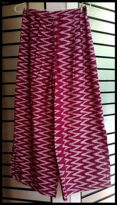 maroon and white ikat palazzo with side slits.
