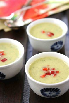 Creamy Zucchini & Coconut Milk Soup Recipe ...This gluten-free & dairy-free soup is great hot or cold!   cookincanuck.com #vegan #vegetarian