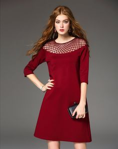 #AdoreWe #VIPme A-Line Dresses - DAIPYA Red 3/4 Sleeve Mesh Paneled Mini Dress - AdoreWe.com