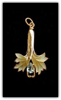 Art Nouveau Masriera Gold, Enamel & Diamond Pendant