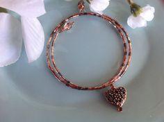 Bangle bracelet copper jewelry heart by DakotaDesignsbyVicki