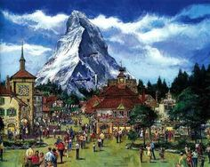 Concept art for proposed Swiss Pavilion for EPCOT that never came to pass.