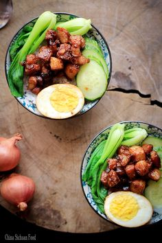 Lu Rou Fan Braised Pork with bok choy and Rice : asian