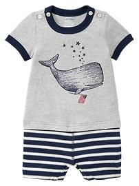 Whale graphic one-piece