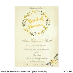 Floral yellow Bridal Shower Invitation