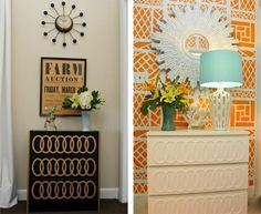 beach bungalow 8: Ikea malm dresser with adhesive overlays and painted.