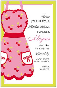 Kitchen party invitation with perforated recipe card if i could kitchen shower stopboris Image collections