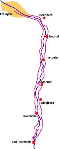 Albtalradweg: Rundtour zwischen Ettlingen und Bad Herrenalb