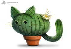 Daily Painting #854. Catcus by Cryptid-Creations.deviantart.com on @DeviantArt