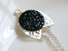 Wings Necklace Black Swarovski Crystal by LadyRebelDesigns on Etsy, $32.00