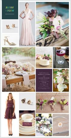 Blush, plum, gold, + dusty shale and cream