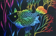 Art EdCentral loves this scratch art fish LinsArt [Linda Calverley]