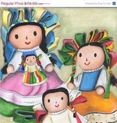 Mexican muñecas de trapo painting.