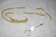 High Fashion Lanyard Gold Chain and Mother of Pearl by icervoni