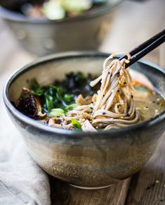 Miso  Soba Noodle Soup with Roasted Sriracha Tofu and Shiitake Mushrooms | The Bojon Gourmet