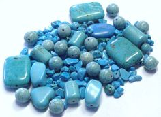 Mixed Lot of Turquoise Blue Magnesite Stone by BeadsFromHaven, $7.50