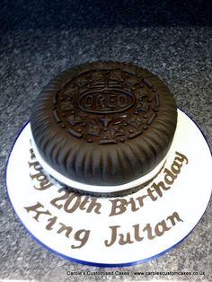 An Oreo themed birthday cake
