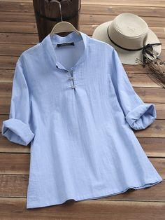 63fcaea434bb86 Solid Color Stand Collar Long Sleeve Buttons Casual Blouses Cheap - NewChic   blouse  casual