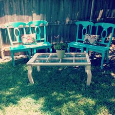 Repurposed kitchen chairs into bench, add board seat, and an old window into coffee table, perfect for vintage cottage style home & garden decor; Upcycle, recycle, salvage, diy, repurpose!  For ideas and goods shop at Estate ReSale & ReDesign, Bonita Springs, FL