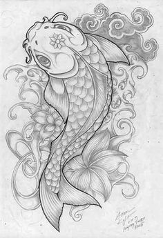 koi splat by anomkojar on deviantART - Tattoos - Tatuajes Japanese Koi Fish Tattoo, Koi Fish Drawing, Fish Drawings, Art Drawings, Cute Tattoos, Body Art Tattoos, Sleeve Tattoos, Tatoos, Leg Tattoos
