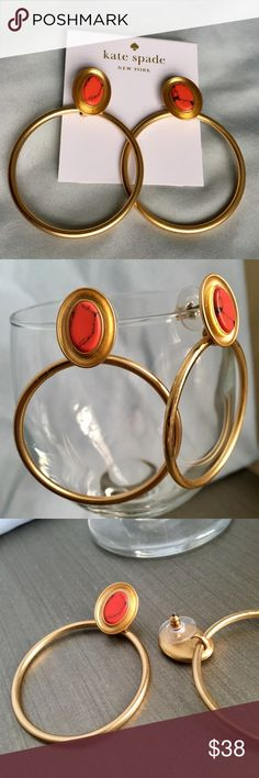 Kate Spade ♠️ Pink and Bronze Earrings, NWT Brand new with tags - never worn! Sharp dangly Kate Spade Earrings Pink center stone and dangling bronze / gold tone hoop Hang is approx. 2 inches kate spade Jewelry Earrings