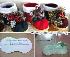 Botas natalinas com garrafa pet   Pra Gente Miúda